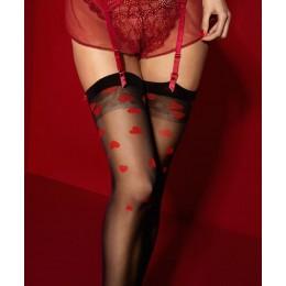 Кокетливые чулочки под пояс Alice с красными сердечками 20 den 4(L)