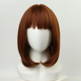 Рыжий парик удлиненное каре с чёлкой и имитацией кожи (30 см)