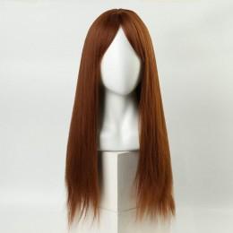 Рыжий парик с длинными волосами и чёлкой, с имитацией кожи (60 см)