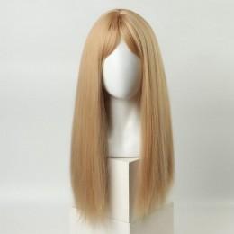 Парик с длинными волосами блонд и чёлкой, с имитацией кожи (60 см)