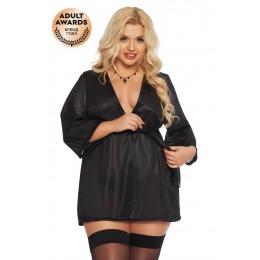 Черный атласный халатик Ramona XXXL