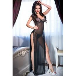 Длинное будуарное платье с разрезами на бедрах L
