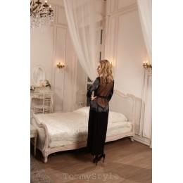 Длинный черный халатик с прозрачной спинкой SM