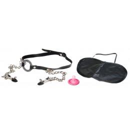 Кляп-расширитель для рта с зажимами на соски O-RING GAG WITH NIPPLE CLAMPS